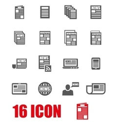 Grey newspaper icon set vector