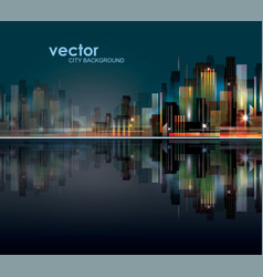 abstract night background with silhouette of city vector image vector image
