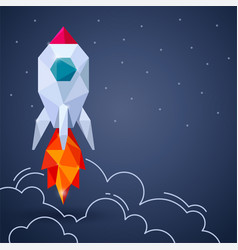 Banner with space rocket on gray background vector