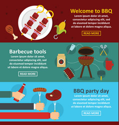 Barbecue party banner horizontal set flat style vector