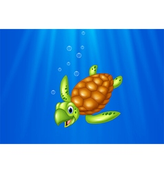 Cartoon sea turtle swimming in the ocean vector
