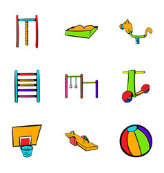 Children activity icons set cartoon style vector