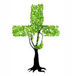 christian cross as tree vector image