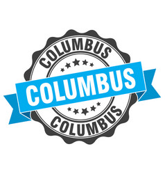 Columbus round ribbon seal vector