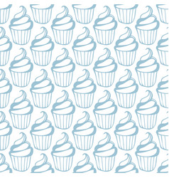 cream cupcake seamless white blue pattern vector image