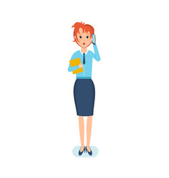 employee with documents talking on phone vector image vector image