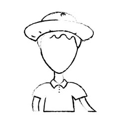 Figure nice man with hat and t-shirt vector