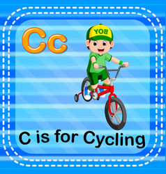 Flashcard letter c is for cycling vector