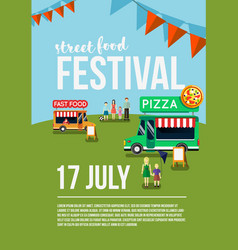 food truck festival event flyer vector image