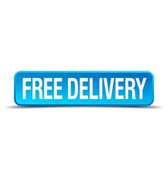 Free delivery blue 3d realistic square isolated vector