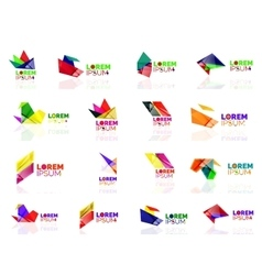 Geometric shapes company logo set paper origami vector image
