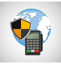 Global finance banking safe shield protection vector