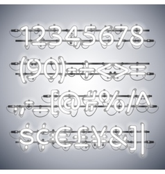 Glowing neon silver numbers vector