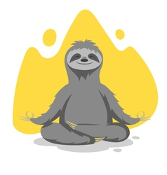 Happy cute sloth practicing yoga exercises print vector