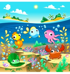Happy marine family under the sea vector image vector image