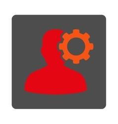 Head ache rounded square button vector