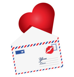 Heart in the envelope mail open with heart the vector