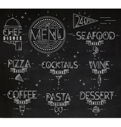Menu in vintage modern style lines drawn chalk vector