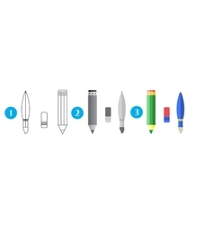 Paint and writing tools collection - pencileraser vector image