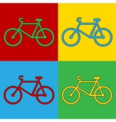 Pop art bike icons vector image