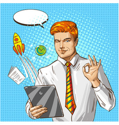 pop art of businessman with vector image