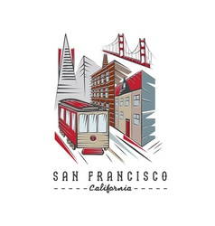 San francisco golden gate bridge buildings and vector