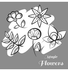 Set magic flowers on gray vector