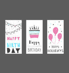 Set of birthday greeting cards design colour vector