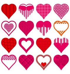 Sixteen red heart vector
