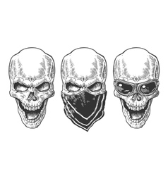 Skull with bandana Black vintage vector image