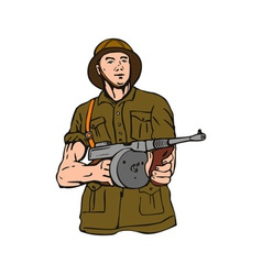 Soldier with Thompson Gun vector image vector image