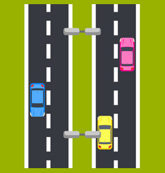 Two way roadway top view vector