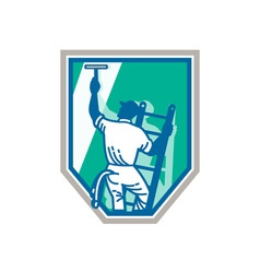 Window cleaner worker shield retro vector