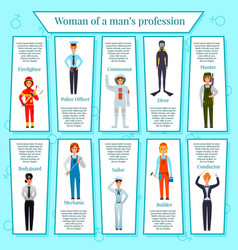 Woman professions infographics vector