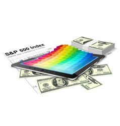 Tablet pc and money vector