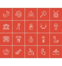 Circus sketch icon set vector image