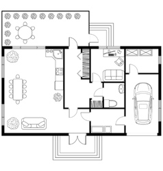 Architectural plan of a house with garage vector image