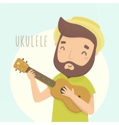 Happy guy with ukulele cartoon character vector