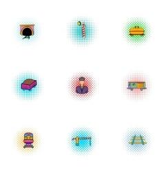 Railway icons set pop-art style vector