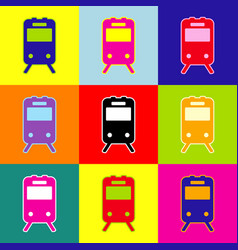 Train sign  pop-art style colorful icons vector