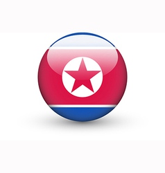 Round icon with national flag of north korea vector