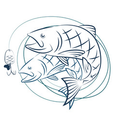 fish and fishing line with baited vector image