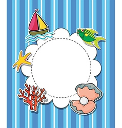 An empty round template with sea creatures vector
