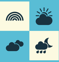climate icons set collection of colors weather vector image
