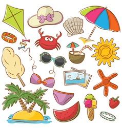 Summer Beach Icons Set vector image