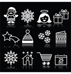 Christmas xmas celebrate white icons set on black vector