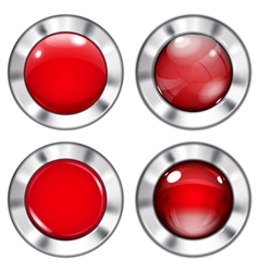 Set of red buttons vector