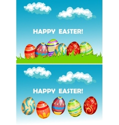Happy easter cards with colorful decorated eggs vector