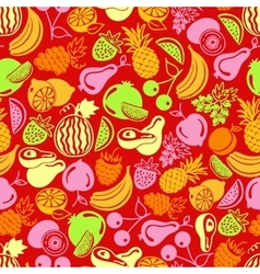 Seamless pattern fruits and berries icons vector