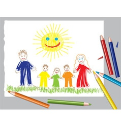 Happy family and the sun vector